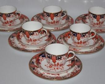 Antique Royal Crown Derby - Imari 2712 - Set of 6 Trios - 1891 - vgc