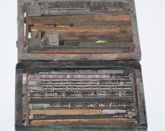 2 x Vintage Letterpress Printing Blocks - Mace Services Grocery