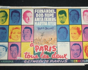 Vintage Belgian Film / Movie Poster - Paris Holiday - Bob Hope - 1958