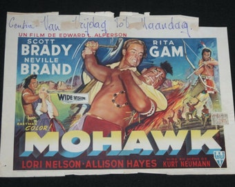 Vintage Belgian Film / Movie Poster - Mohawk - Scott Brady - 1956