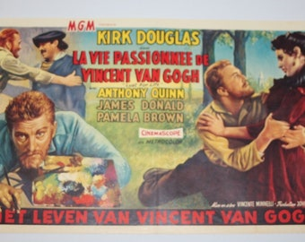 Vintage Belgian Film / Movie Poster - Lust For Life - Kirk Douglas - 1956