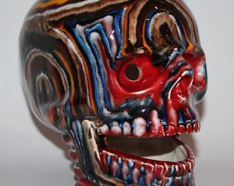 "Anita Harris Art Pottery - Labyrinth by Pete Harris - 7"" Skull - vgc"