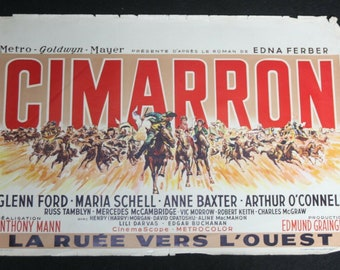 Vintage Belgian Film / Movie Poster - Cimarron - Glenn Ford - 1960