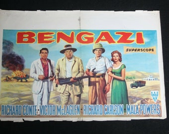 Vintage Belgian Film / Movie Poster - Bengazi - Richard Conte - 1955