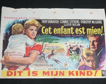Vintage Belgian Film / Movie Poster - Susan Slade - Troy Donahue - 1961