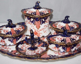Royal Crown Derby - Imari 2712 - 6 Piece Dressing Table Set - 1898