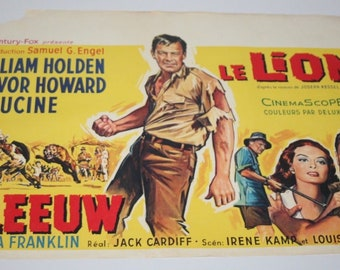 Vintage Belgian Film / Movie Poster - The Lion - William Holden - 1962