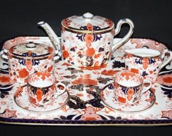 Royal Crown Derby - Imari 1721 - Stunning 8 Piece Cabaret Tea Set for 2 - 1887
