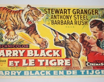 Vintage Belgian Film / Movie Poster - Harry Black and the Tiger - 1958