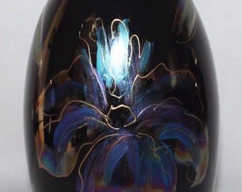 "Anita Harris Art Pottery - Black Iris Lustre - 8 1/4"" Minos Vase - vgc"