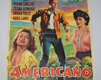 Vintage Belgian Film / Movie Poster - The Americano - Glenn Ford - 1955