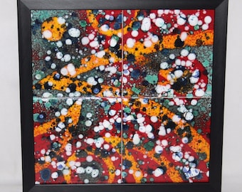 Anita Harris Art Pottery - Framed 1/1 Abstract 4 Tile Panel by Pete Harris