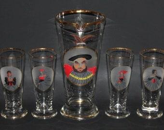 Henry VIII & Six Wives - Vintage Drinking/Lemonade Set of Ale Jug and Glasses