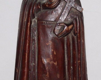 "Antique 19th Century Continental Carved Softwood 11"" Sculpture of Virgin Mary"
