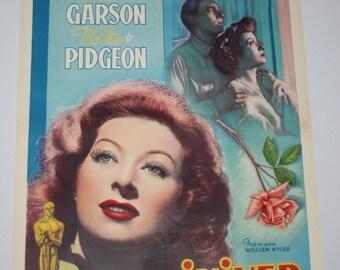 Vintage Belgian Film / Movie Poster - Mrs. Miniver - Greer Garson - 1942
