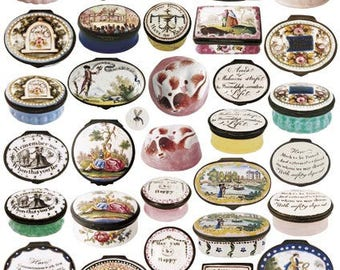 Giftwrap / Poster Print - Georgian Patch & Snuff Boxes - 700 x 500mm