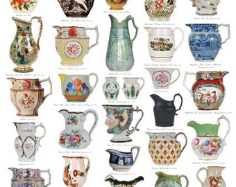 Giftwrap / Poster Print - Antique Jugs, 1780-1934 - 700 x 500mm