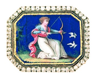 Gift Tag - Georgian Gold and Enamel Brooch, Circa 1820