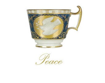 Blank Greetings Card - Antique Coalport Peace Cup, 1814