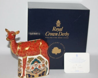 Royal Crown Derby - Sherwood Hind Paperweight - Box/Certificate - Gold Stopper