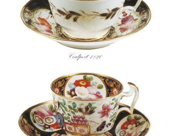 Blank Greetings Card - Georgian Cups and Saucers, Coalport & Swansea, c1820