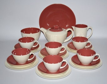 Poole Pottery -C95 Twintone Indian Red/Magnolia, Complete 22 Piece Tea Set for 6 - Retro/Vintage/Kitsch