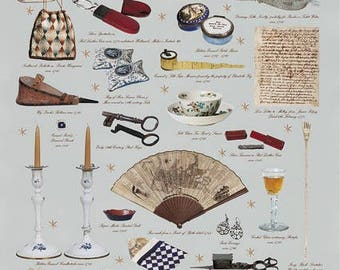 Giftwrap / Poster Print - Items From Georgian Lady's Dressing Table- 700 x 500mm