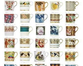 Giftwrap / Poster Print - English Georgian Coffee Cans - 700 x 500mm