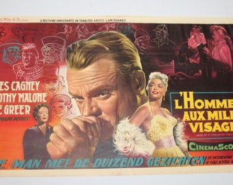 Vintage Belgian Film / Movie Poster - Man Of A Thousand Faces - 1957