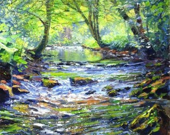 "Mark Preston - Summer In Chee Dale - 2001 Signed Original Acrylic, 16"" x 17"""