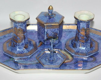 Wedgwood - Fairyland Lustre Dragon - 5 Piece Dressing Table Set - c1920