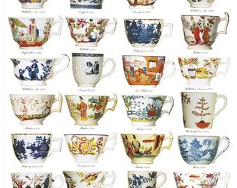 Giftwrap / Poster Print - English Georgian Cups, 1760-1830 - 700 x 500mm