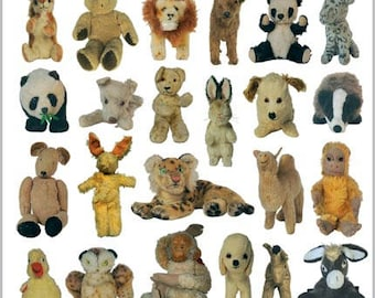 Giftwrap / Poster Print - Vintage Soft Toys 1900-1960 - 700 x 500mm