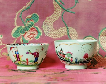 Gift Tag - Worcester & Newhall Tea Bowls, Circa 1790