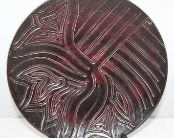 Poole Pottery - Delphis - Carved/Glazed Plate, Shape 4 - Carole Holden - vgc