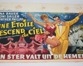 Vintage Belgian Film / Movie Poster - Ein Stern Fallt vom Himmel - 1961