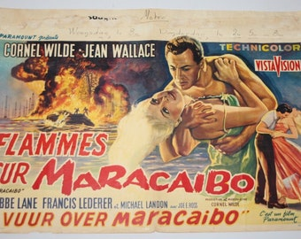 Vintage Belgian Film / Movie Poster - Maracaibo - Cornel Wilde - 1958