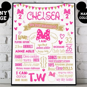 Mouse 2nd Birthday chalkboard sign 559 second party supplies chalk board poster banner milestone ears bow girl Printable