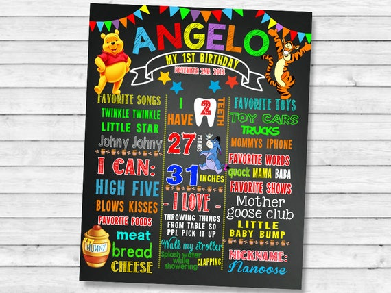 Printable Mickey Mouse First Birthday chalkboard sign ID8 1st bday party chalk board poster banner milestone boy girl stats photo