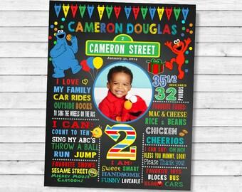 Printable Elmo Sesame street Second Birthday chalkboard sign - 2nd birthday chalk board poster (15-2)