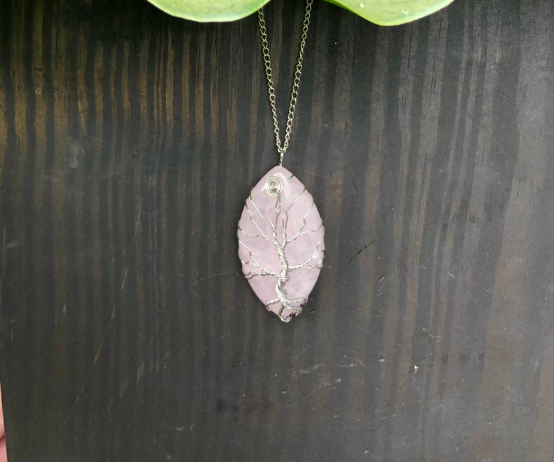 /& Forgiveness Silver Rose Quartz Amethyst Necklaces Tree of Life rose quartz SET OF TWO For Love Wire Wrapped Beauty