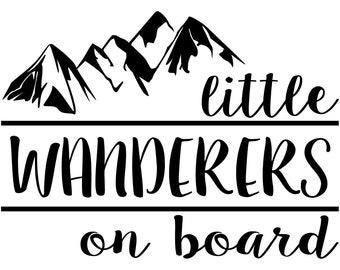 Little Wanderers on Board Decal Sticker Car Truck Window Laptop Die Cut Vinyl Baby on Board Adventure Await Travel Explorer