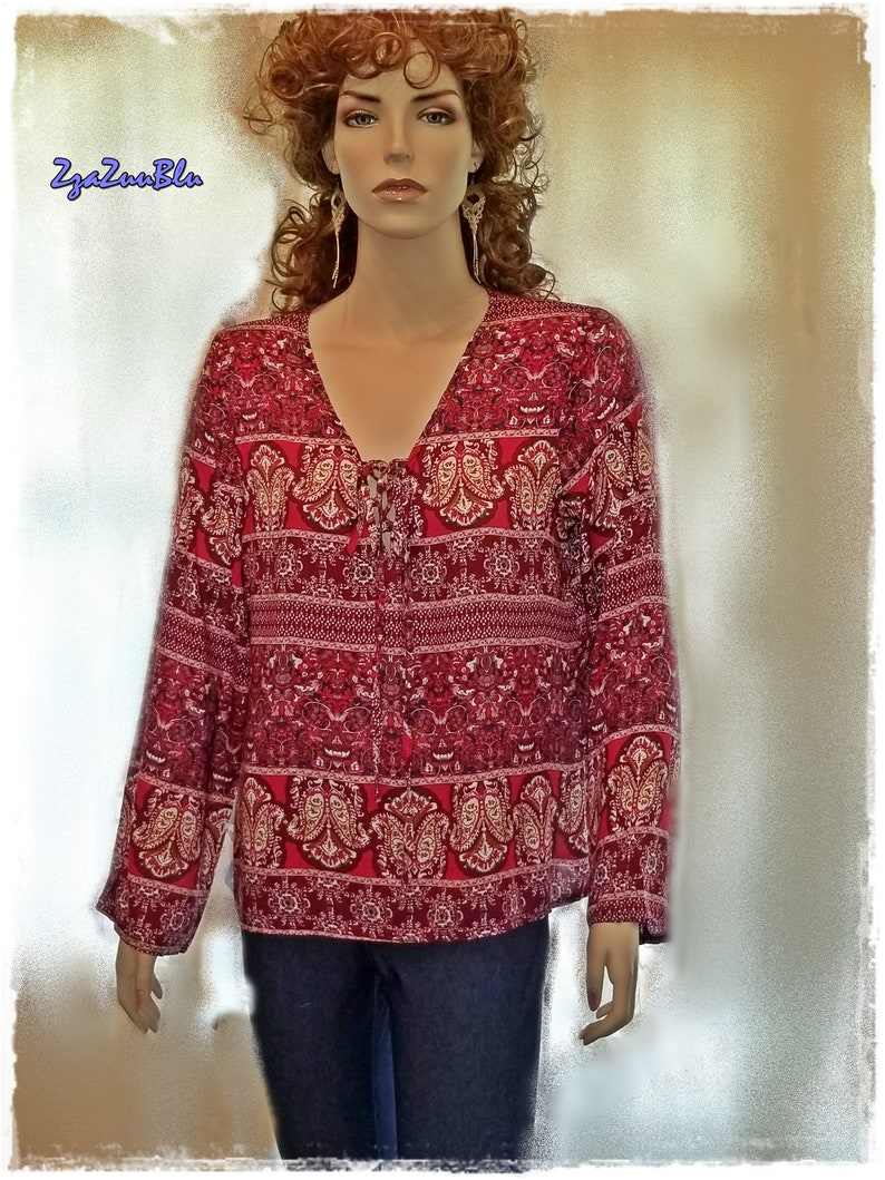 faee7714d0f BOHO PEASANT FESTIVAL Blouse Rayon Paisley Top with Front | Etsy