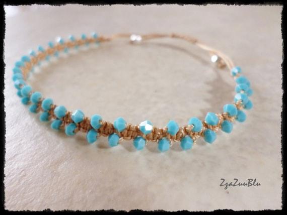 Turquoise Cristal Micro Macrame Bracelet Gypsy Style Noeud Etsy