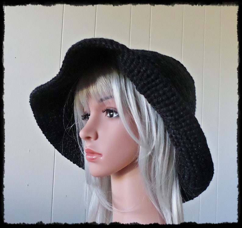 86966f518a19 Wide Brim Floppy 60s Crochet Hippie Hat One Size Fits Most