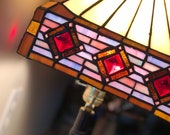 Vintage Stained Glass Lamp-Geometric Design-Contemporary Style-Gift Ideas-Country Farmhouse Decor-FREE DOMESTIC SHIPPING