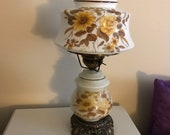 Vintage Table Hurricane Floral Lamp-Hand Painted-3 Way Electric Lamp w Shade-Country Farmhouse Decor Accessories-FREE DOMESTIC SHIPPING