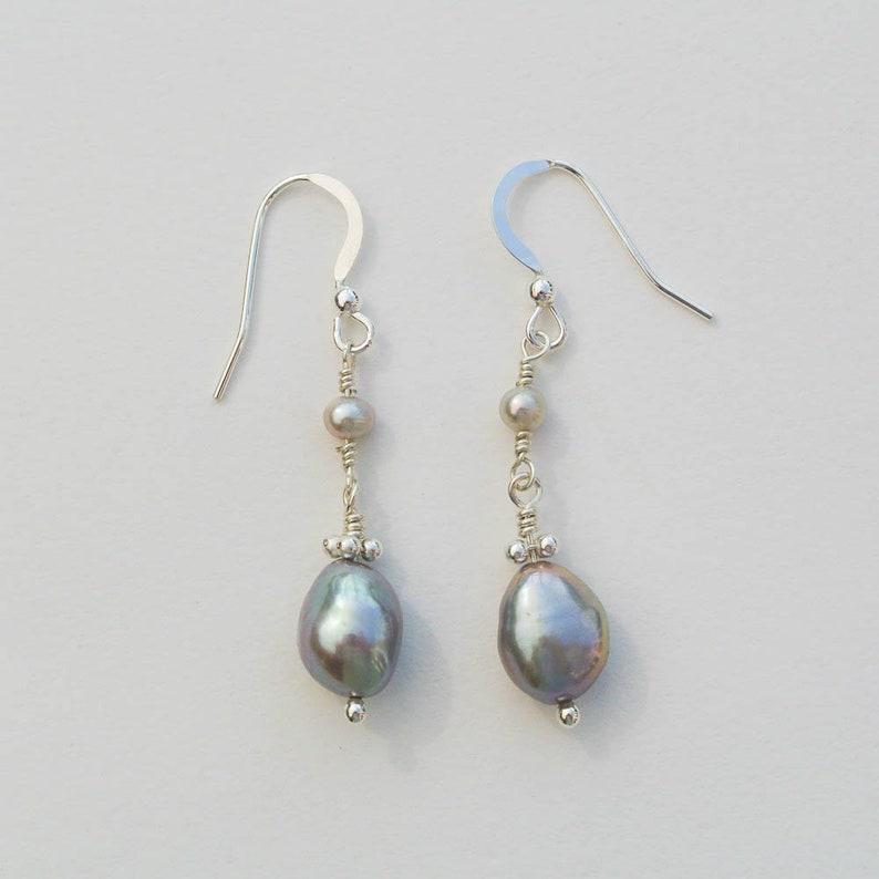 b118dd06d Sterling Silver Grey Pearl Drop Earrings Statement Earrings | Etsy