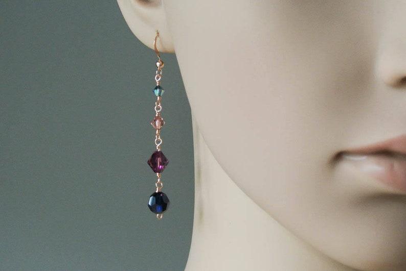 45f0140611796 Rose Gold Statement Earrings - Venetian Jewel Coloured Crystal Drop  Earrings - 14K Rose Gold Filled Long Earrings with Swarovski Crystals