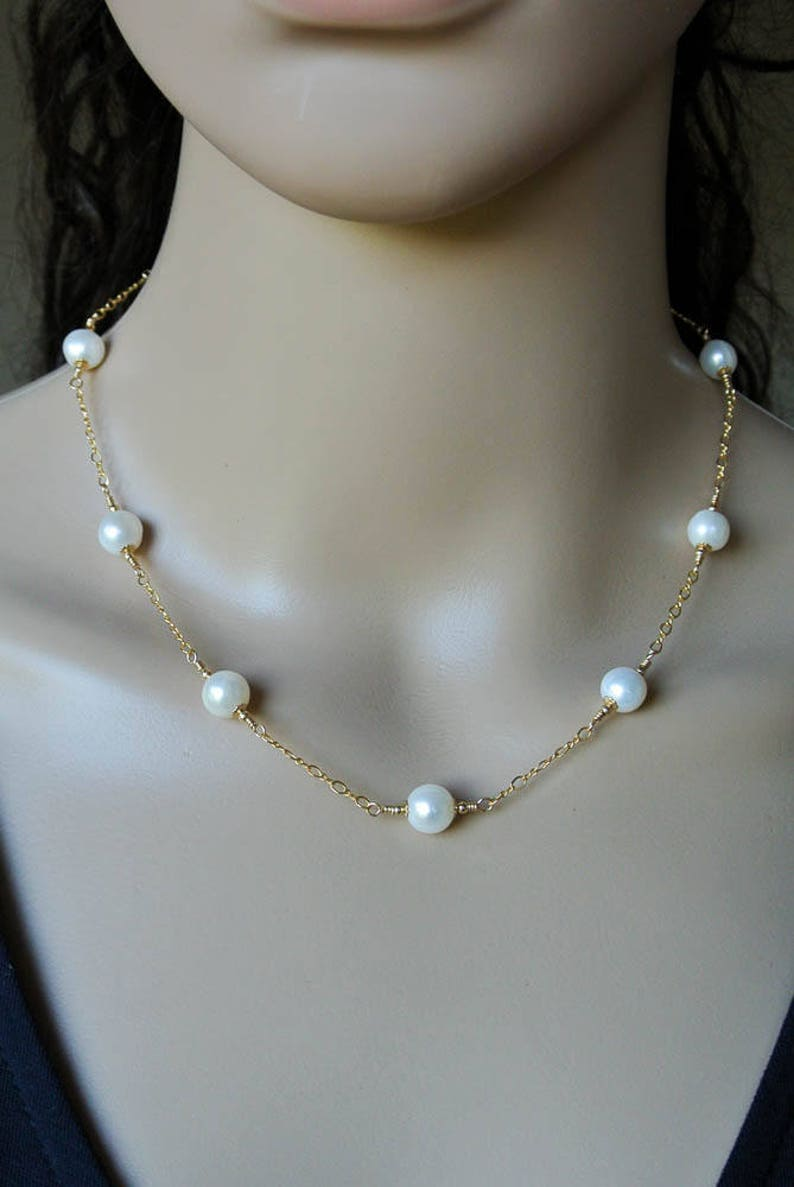 132b88f5838ef Gold Pearl Chain Necklace, White Pearl & Gold Station Necklace - Gold  Filled Chain with Ivory White Freshwater Pearls - Gold Pearl Necklace